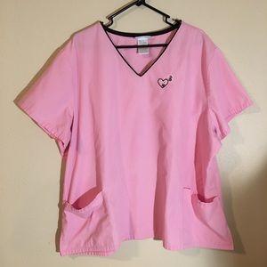 Sb Scrubs Solid Pink w/Heart Design Scrub Top 3X